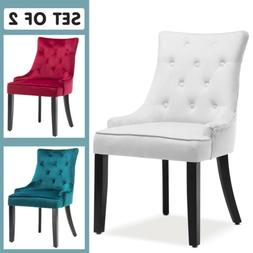Modern Set of 2 Elegant Tufted Design Fabric Dining Chairs U