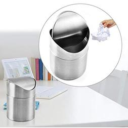 MSOO Fashionclubs Stainless Steel Desk Trash Bin,Countertop