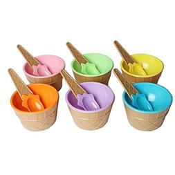 Gbell 6PC Ice Cream Bowls and Spoons Set for Kids,Ice cream