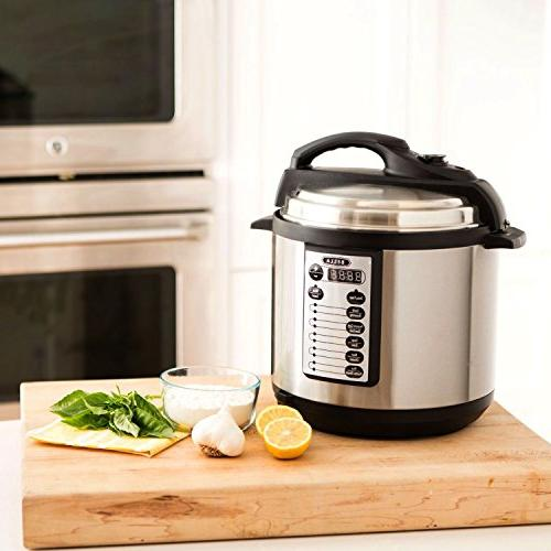 BELLA 10-In-1 Multi-Use 6 Quart Pressure Cooker, Slow Rice Steamer, Searing Browning Feature, 1000 Watts
