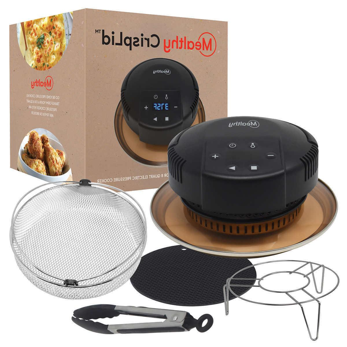 Mealthy CrispLid Air Fry Broil Dehydrate In 6- 8 Qt Electric