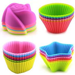 LENK Silicone Cupcake Liners,24 Pieces Nonstick Nonstick Reu